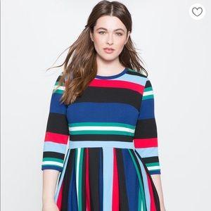 ELOQUII Opposing Striped Knit Dress
